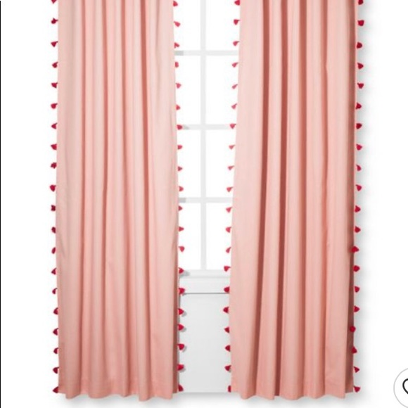 Pillowfort Clipped Dot Curtain Panel White and Pink 95 Inches